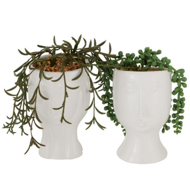 Kunstplant In Pot Met Gezicht 2 st. -16 cm
