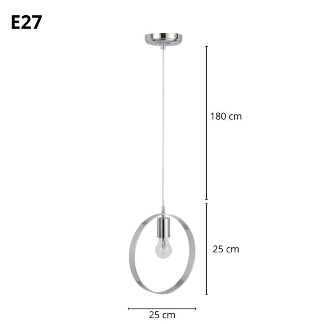 Hanglamp Metaal Zilver Modern Rond