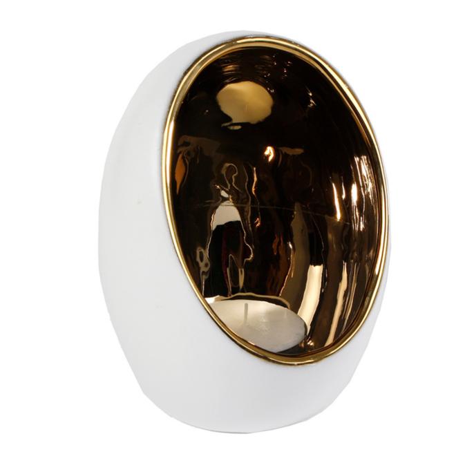 Waxinelichthouder Wit/Goud Bolvormig - 17.5 cm