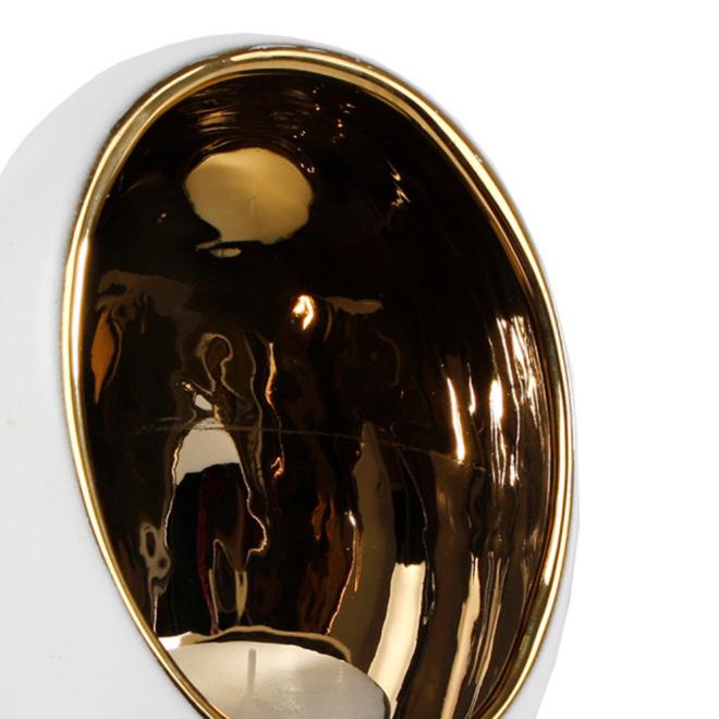Waxinelichthouder Wit/Goud Bolvormig - 15 cm