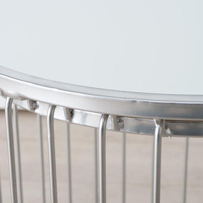 Bijzettafel Zilver Spiegel Glas 2 st. Ø 42 cm