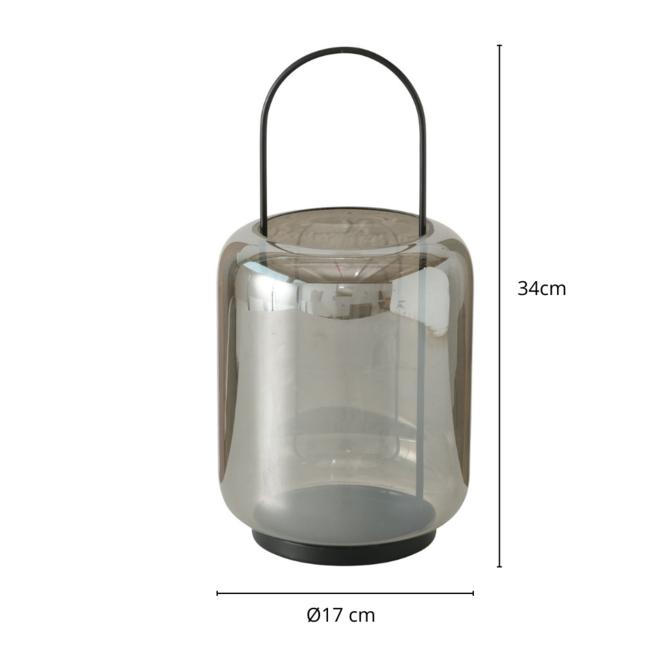 Windlicht Zwart Glas 34 cm