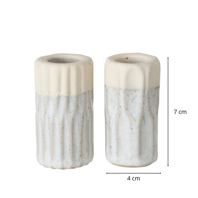 Design Kandelaar Grijs/Beige 2 st. 7 cm