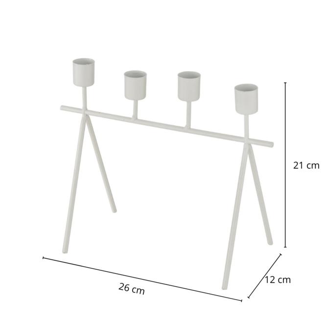 Kandelaar Wit Metaal 21x26 cm