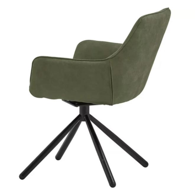 Eetkamerstoel Groen Met Armleuning Modern 180° draaibaar