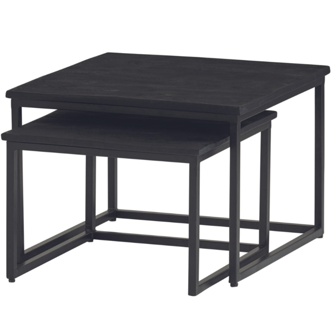 Salontafel Set Zwart Hout Vierkant 60x60 cm