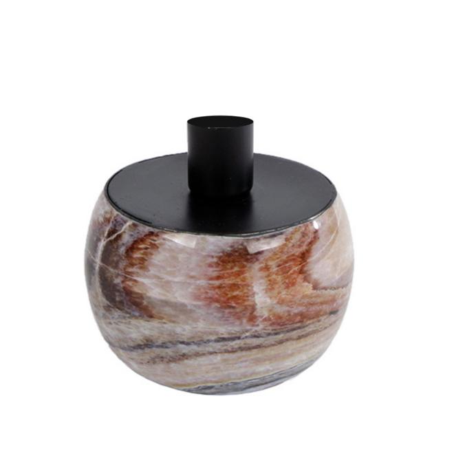 Kaarsenhouder/Kandelaar Marmer Bruin  Zwart 9.5 cm