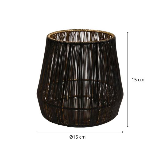 Lantaarn/Windlicht Draad Zwart Goud Ø 15 cm