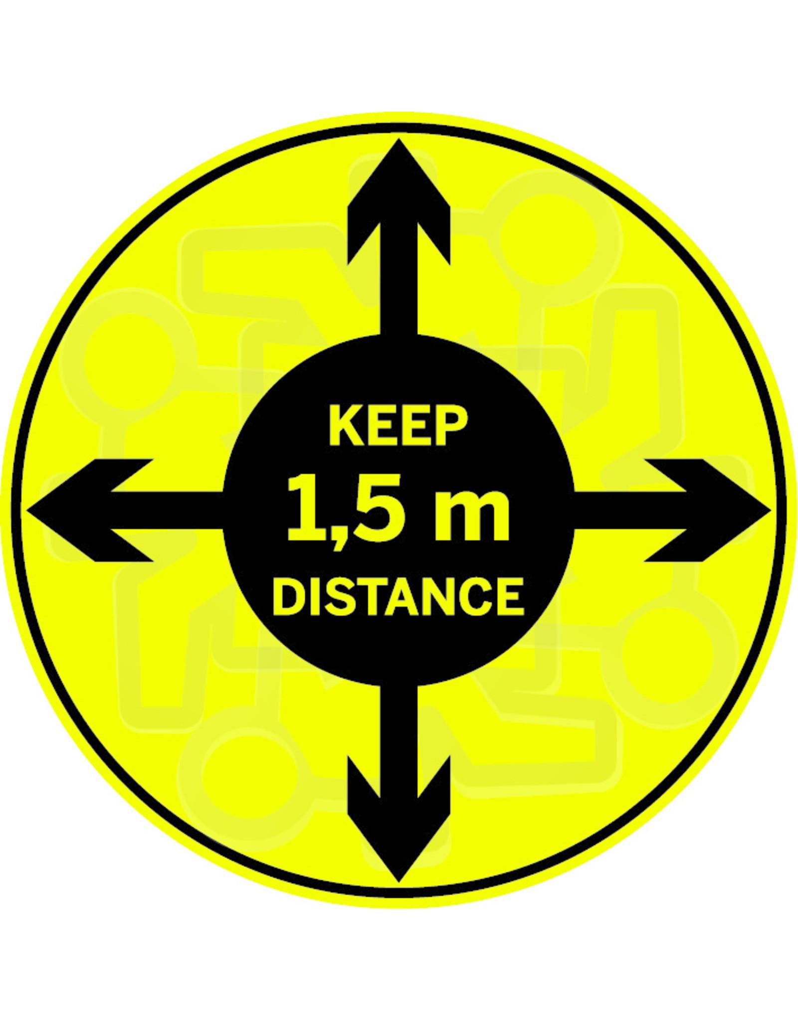 Sticker: keep 1,5 m distance