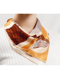Foulard en soie géométrie brun