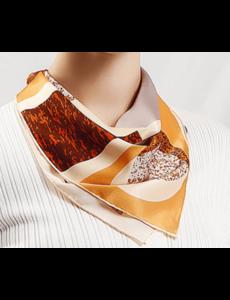 Zijden sjaal geometrie bruin