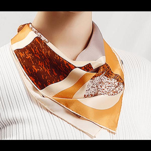 Zijden sjaal geometrie bruin, 100% zijde