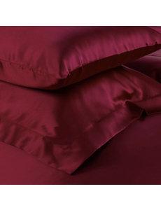 Funda de almohada de seda 19mm rojo vino
