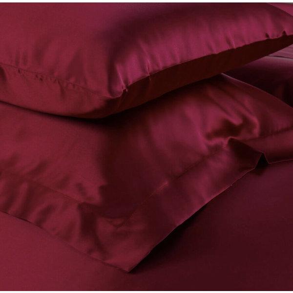 Funda de almohada de seda 19momme rojo vino