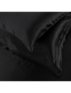 Taies d'oreiller en soie 19mm noir