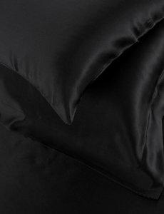 Funda de almohada de seda 22mm negro