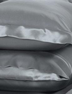 Taies d'oreiller en soie 22mm gris argent