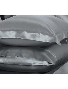 Funda de almohada de seda 22mm gris-plata
