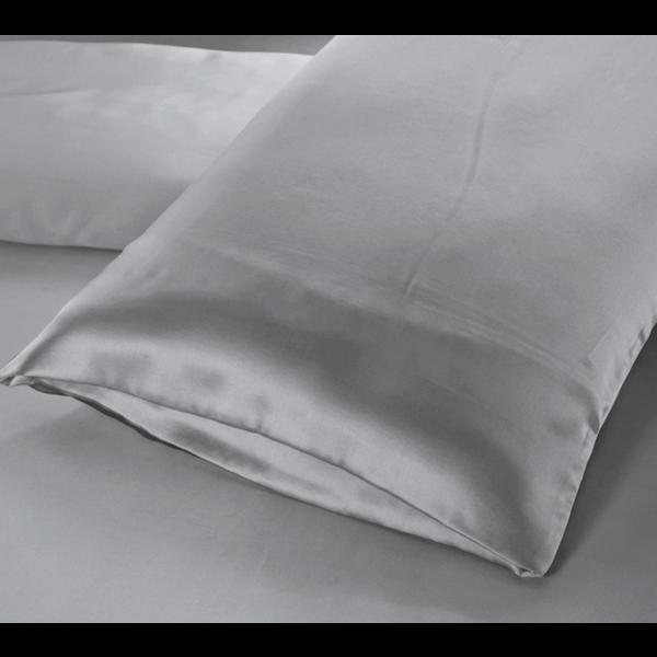Funda de almohada de seda 22momme gris-plata