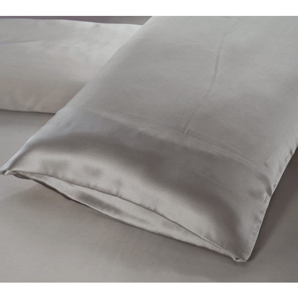 Funda de almohada de seda 19momme gris perla