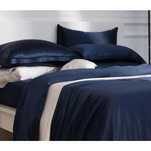 Silk duvet cover 22momme navy blue