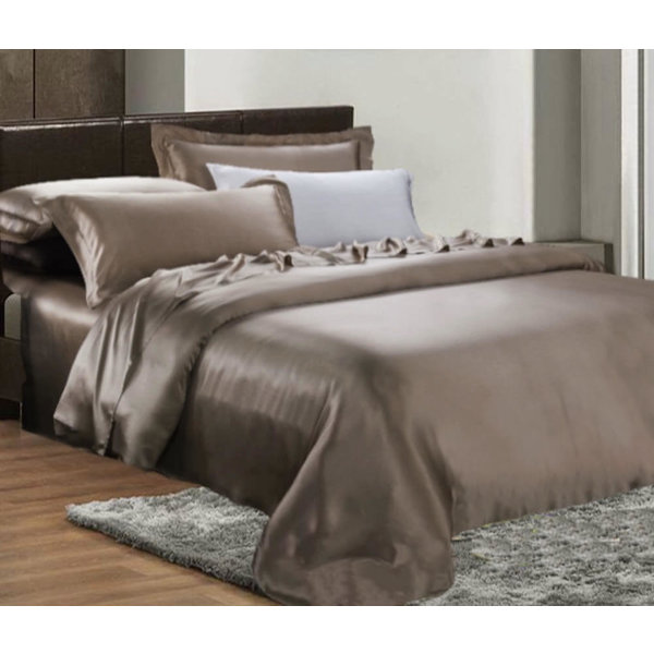 Silk duvet cover 19momme chateau brown