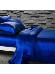 Zijden dekbedovertrek 19mm saffier blauw