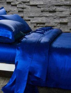 Zijden dekbedovertrek 19mm saffierblauw