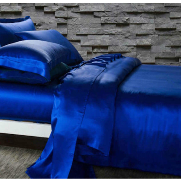 Funda nórdica de seda 19momme azul zafiro