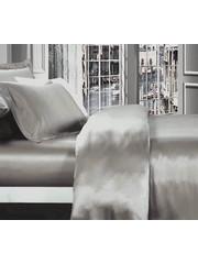 Zijden dekbedovertrek 19mm parelgrijs