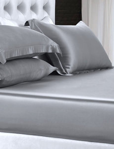 Silk fitted sheet 22mm silvergrey