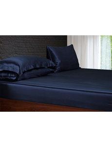 Silk fitted sheet 22mm navy blue