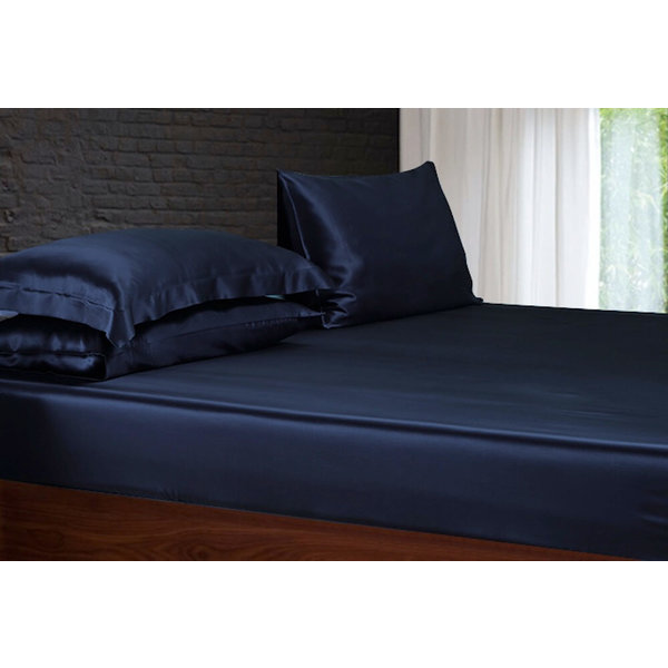 Silk fitted sheet 22momme navy blue