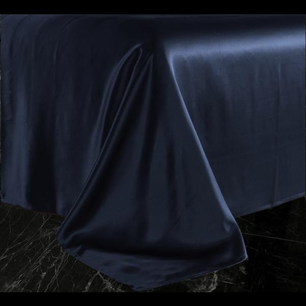 Silk flat sheet 22momme navy blue