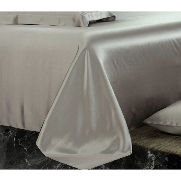 Silk flat sheet 19momme pearl grey