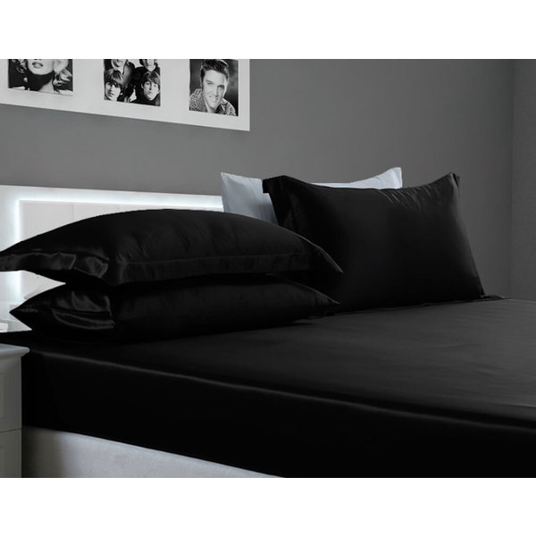 Silk fitted sheet 22momme black