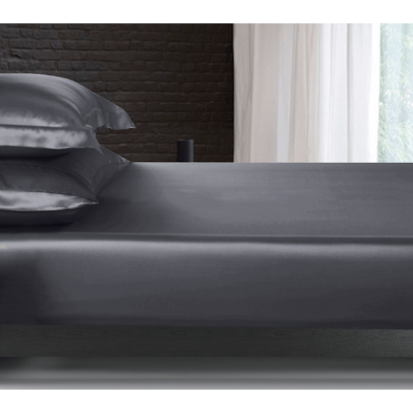 Silk fitted sheet 22momme anthracite grey