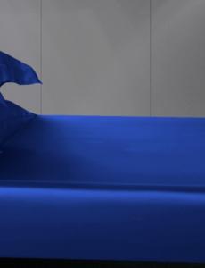 Silk fitted sheet 19mm sapphire blue