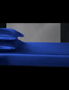 Zijden hoeslaken 19mm saffier blauw