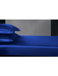 Zijden hoeslaken 19mm saffierblauw