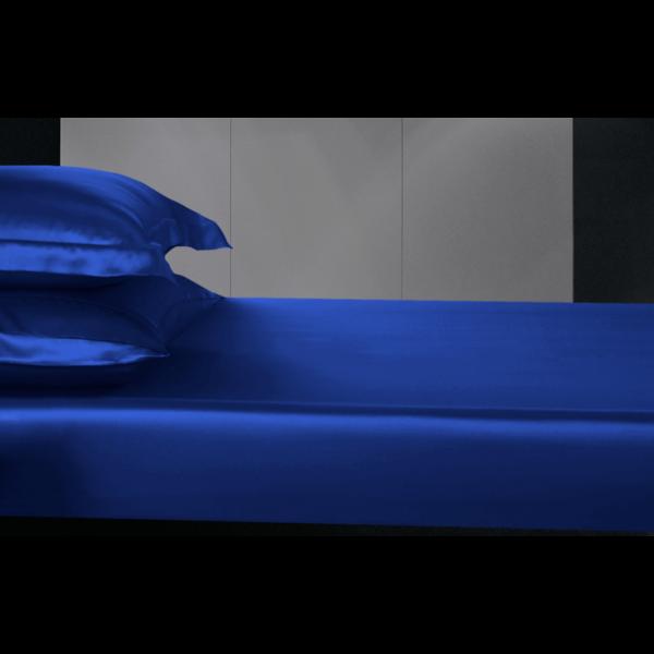 Zijden hoeslaken 19momme Saffier-blauw