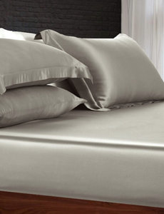 Silk fitted sheet 19mm pearl grey