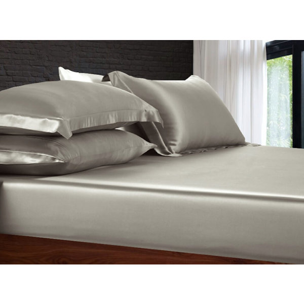 Silk fitted sheet 19momme pearl grey
