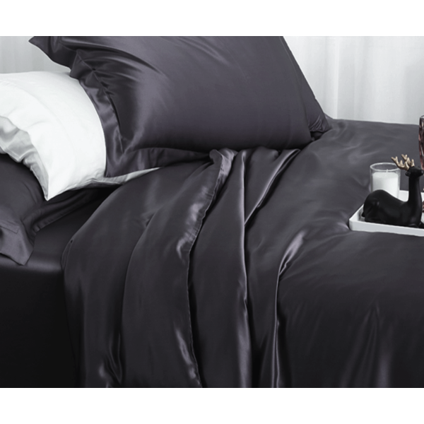 Silk duvet cover 22momme anthracite grey