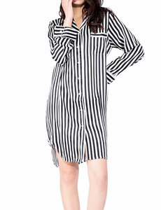 Women's silk striped nightgown