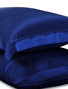 Taies d'oreiller en soie 19mm bleu saphir