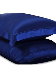 Zijden kussensloop 19mm saffierblauw