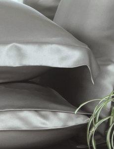 Taies d'oreiller en soie 19mm gris perle