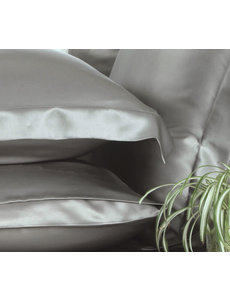 Funda de almohada de seda 19mm gris perla