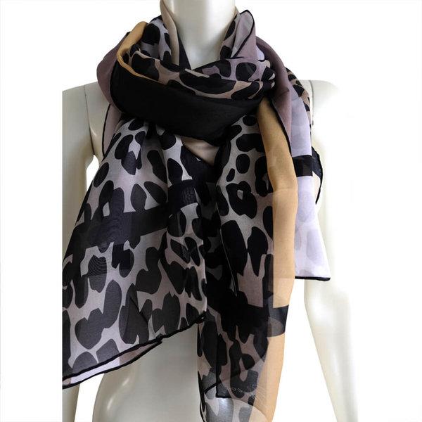 Animal Print Silk Scarf, 100% silk